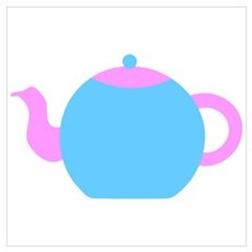 Blue and Pink Teapot Poster