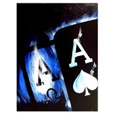 Blue Flame Pocket Aces Poker Poster