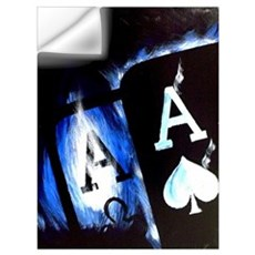 Blue Flame Pocket Aces Poker Wall Decal