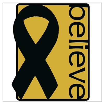 Gold (Believe) Ribbon Poster