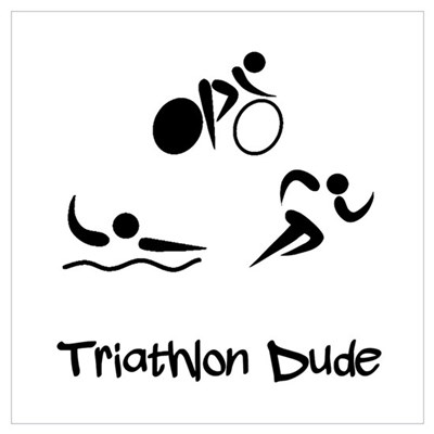 Triathlon Dude Canvas Art