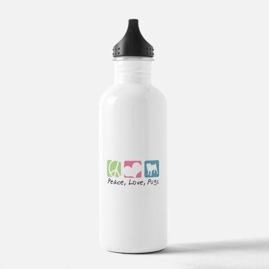 Peace, Love, Pugs Water Bottle