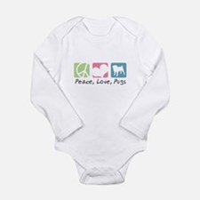 Peace, Love, Pugs Long Sleeve Infant Bodysuit
