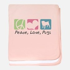 Peace, Love, Pugs baby blanket