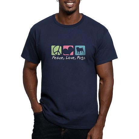 Peace, Love, Pugs Men's Fitted T-Shirt (dark)