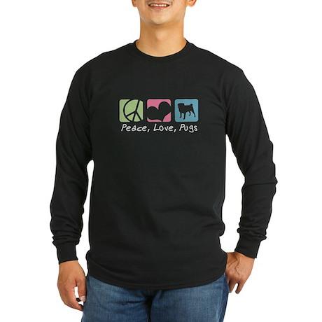 Peace, Love, Pugs Long Sleeve Dark T-Shirt