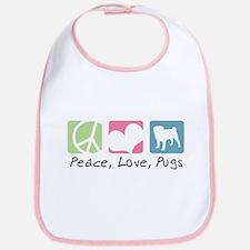 Peace, Love, Pugs Bib