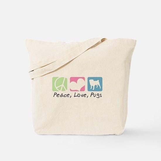 Peace, Love, Pugs Tote Bag