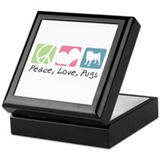 Peace, Love, Pugs Keepsake Box