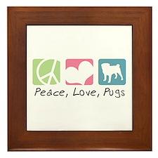 Peace, Love, Pugs Framed Tile