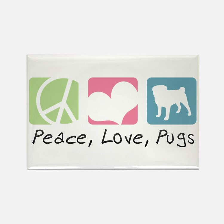Peace, Love, Pugs Rectangle Magnet