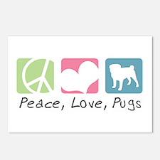 Peace, Love, Pugs Postcards (Package of 8)