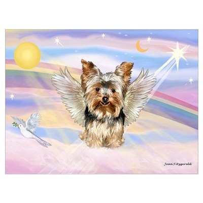 Yorkie (#17) in Clouds Framed Print