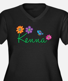 Kenna Flowers Women's Plus Size V-Neck Dark T-Shir