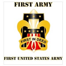DUI - First United States Army with Text Mini Post Poster