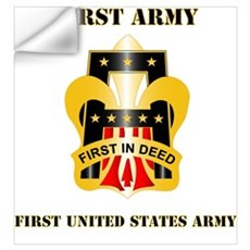 DUI - First United States Army with Text Mini Post Wall Decal