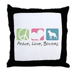 Peace, Love, Bostons Throw Pillow