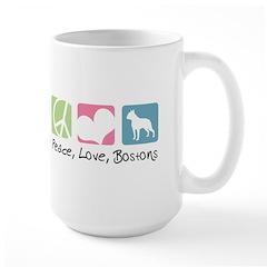 Peace, Love, Bostons Mug