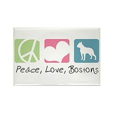 Peace, Love, Bostons Rectangle Magnet