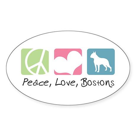 Peace, Love, Bostons Sticker (Oval 50 pk)