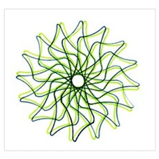 Green Wings Spirograph Poster