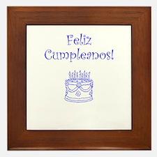 Spanish Birthday Blue Framed Tile