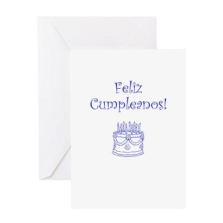 Spanish Birthday Blue Greeting Card