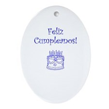 Spanish Birthday Blue Ornament (Oval)