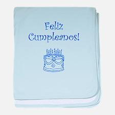 Spanish Birthday Blue baby blanket