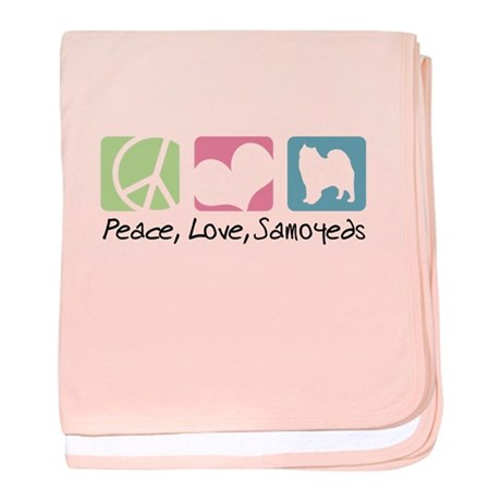 Peace, Love, Samoyeds baby blanket