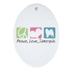 Peace, Love, Samoyeds Ornament (Oval)