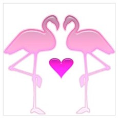Flamingo Love Canvas Art