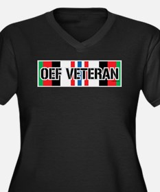 OEF Veteran Ribbon Women's Plus Size V-Neck Dark T