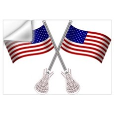 American Flag Lacrosse Wall Decal