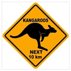 Kangaroos Next 10 km Sign Poster