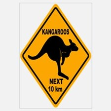 Kangaroos Next 10 km Sign