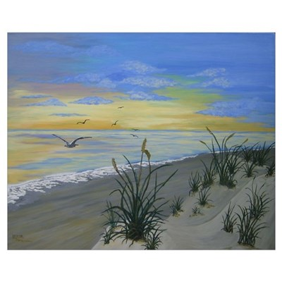 Blue Ocean Dawn Canvas Art