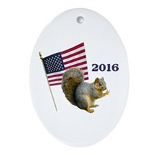 Squirrel for President Ornament (Oval)