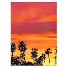 Red Sunset California Poster
