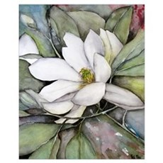 White Magnolia Watercolor Flower Framed Print