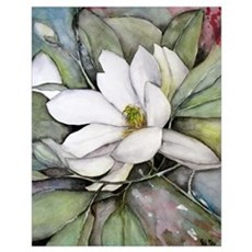 White Magnolia Watercolor Flower Poster