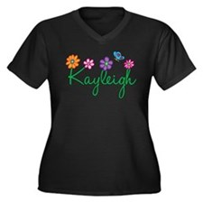 Kayleigh Flowers Women's Plus Size V-Neck Dark T-S
