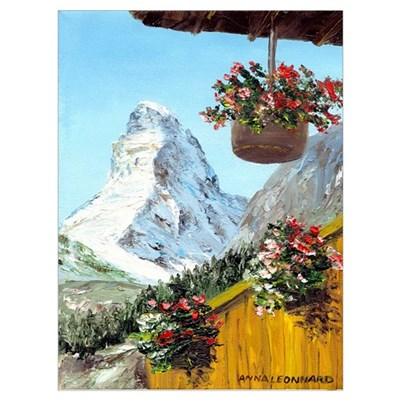 Matterhorn with flowers Framed Print