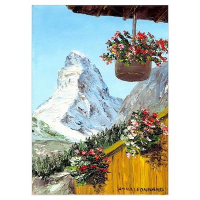 Matterhorn with flowers Poster
