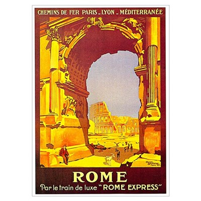 Vintage Rome Express Train Deluxe Prin Poster