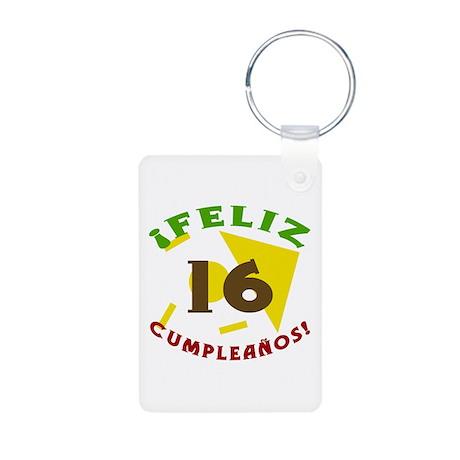 Feliz Cumpleaños (16) Aluminum Photo Keychain