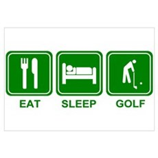 EAT SLEEP GOLF (grn) Framed Print