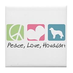 Peace, Love, Hovawart Tile Coaster
