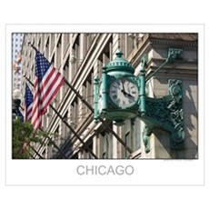 Clock and Flag Canvas Art