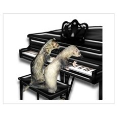 Ferrets Playing Piano Poster